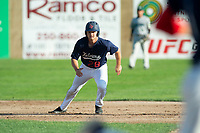 KELOWNA, BC - JULY 24: Austen Butler #28 of the Kelowna Falcons leads off second base against the Yakima Valley Pippins at Elks Stadium on July 24, 2019 in Kelowna, Canada. (Photo by Marissa Baecker/Shoot the Breeze)