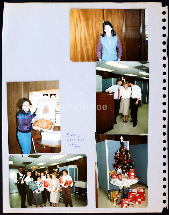 page from a photo album with company office workers USA Xmas 1985