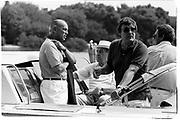 Oscar de la Renta, Jeremy Tree and Peter Duchin in Venice for the Save week. Venice. 1991. © Copyright Photograph by Dafydd Jones 66 Stockwell Park Rd. London SW9 0DA Tel 020 7733 0108 www.dafjones.com