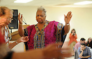 Bert Finney of Wings of Victory dance company performs on stage with her fellow members during the 15th annual international dinner Saturday October 17, 2015 at St. Elizabeth Ann Seton in Bensalem, Pennsylvania.  (Photo by William Thomas Cain)