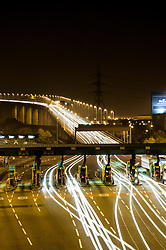 The Dartford River Crossing at night prior to removal of toll booths in 2015. London UK