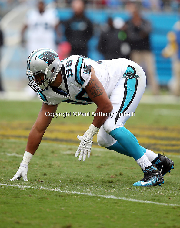 Carolina Panthers defensive end Wes Horton (96) gets set for the snap during the 2015 NFL week 3 regular season football game against the New Orleans Saints on Sunday, Sept. 27, 2015 in Charlotte, N.C. The Panthers won the game 27-22. (©Paul Anthony Spinelli)