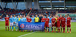 MANCHESTER, ENGLAND - Wednesday, March 14, 2018: Liverpool and Manchester City players stand in front of a UEFA Respect banner during the UEFA Youth League Quarter-Final match between Manchester City and Liverpool FC at the City Academy Stadium. (Pic by David Rawcliffe/Propaganda)