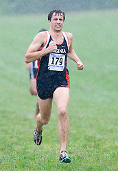 Simon Biddle-Snead (179/University of Virginia).  The Lou Onesty Invitational Cross Country meet was hosted by the University of Virginia XC team and held at Panorama Farms near Charlottesville, VA on September 6, 2008.  Athletes endured rain and wind from Tropical Storm Hanna during the race.