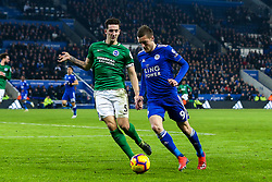 Jamie Vardy of Leicester City takes on Lewis Dunk of Brighton and Hove Albion - Mandatory by-line: Robbie Stephenson/JMP - 26/02/2019 - FOOTBALL - King Power Stadium - Leicester, England - Leicester City v Brighton and Hove Albion - Premier League