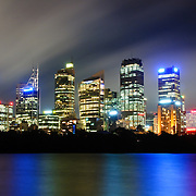 Dusk view of Sydney's city skyline as seen from Mrs. Macquarie's Point