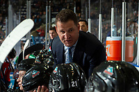 KELOWNA, BC - SEPTEMBER 28:  Kelowna Rockets head coach Adam Foote stands on the bench against the Everett Silvertips  at Prospera Place on September 28, 2019 in Kelowna, Canada. (Photo by Marissa Baecker/Shoot the Breeze)