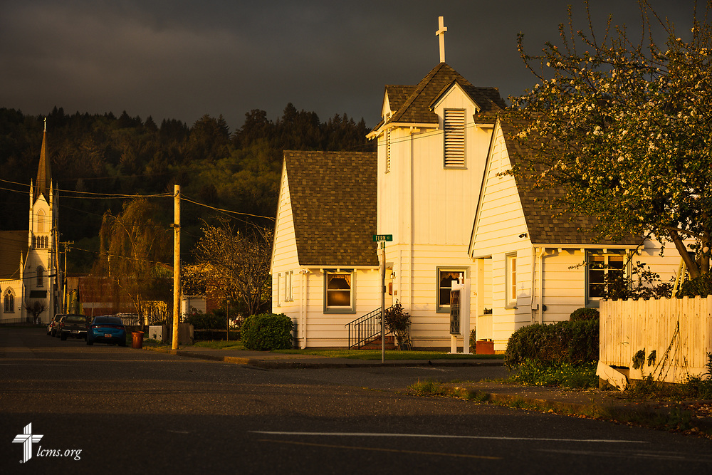 The sun rises on Wednesday, April 10, 2019, over St. Mark's Evangelical Lutheran Church in Ferndale, Calif. LCMS Communications/Erik M. Lunsford