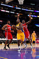 25 February 2011: Forward Derrick Caracter of the Los Angeles Lakers lays the ball up against the Los Angeles Clippers during the second half of the Lakers 108-95 victory over the Clippers at the STAPLES Center in Los Angeles, CA.