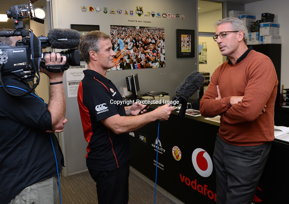 Eric Watson is interviewed by Richard Becht, Warriors Extend the Dream graduation ceremony and scholarship presentation to Junior Warriors players, Vodafone Warriors, Mt Smart Stadium, Auckland. 17 July 2012. Photo: Andrew Cornaga/photosport.co.nz