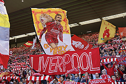 LIVERPOOL, ENGLAND - Sunday, May 12, 2019: A Liverpool supporters' banner featuring Andy Robertson during the final FA Premier League match of the season between Liverpool FC and Wolverhampton Wanderers FC at Anfield. (Pic by David Rawcliffe/Propaganda)