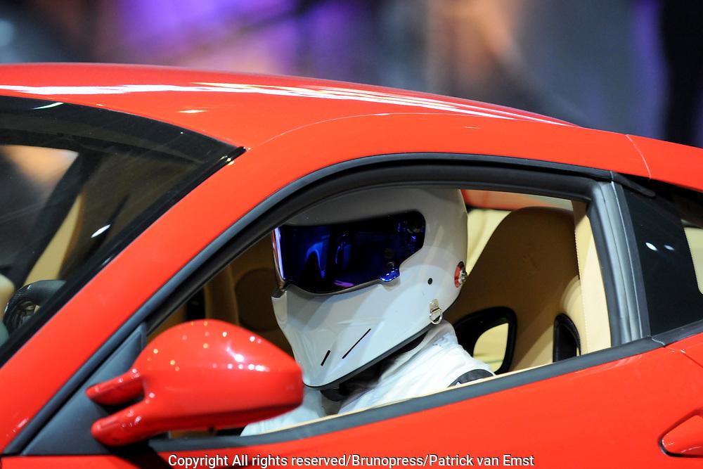Top Gear Live World Tour in de RAI .<br /> <br /> op de foto:<br /> <br />  The Stig is een mysterieus personage uit het Britse televisieprogramma van de BBC, Top Gear.