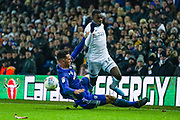 Cardiff City defender Sean Morrison (4) fouls Leeds United forward Eddie Nketiah (14) during the EFL Sky Bet Championship match between Leeds United and Cardiff City at Elland Road, Leeds, England on 14 December 2019.