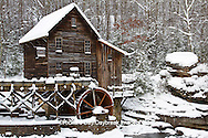 67395-04106 Glade Creek Grist Mill in winter, Babcock State Park, WV