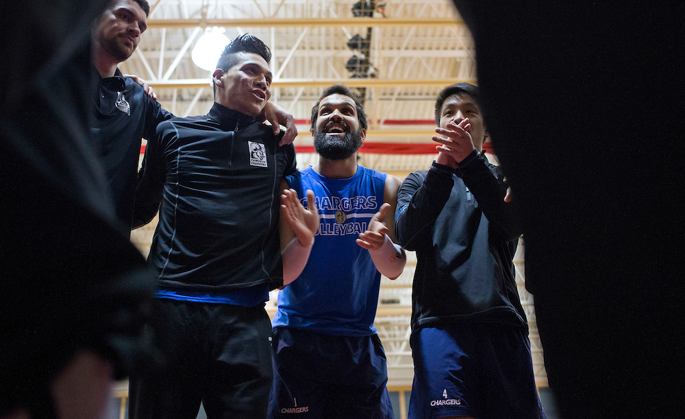 The Camosun Mens Volleyball warm up prior to their semi-final match at the 2016 PACWEST Volleyball Provincial Championships at Columbia Bible College in Abbotsford, British Columbia, Canada on February 26, 2016.
