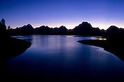 Jackson lake and the Tetons at dusk in Grand Teton National Park, Jackson Hole, Wyoming.