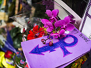 "22 APRIL 2016 - MINNEAPOLIS, MN: A card left at 1st Ave for Prince. Thousands of people came to 1st Ave in Minneapolis Friday to mourn the death of Prince, whose full name is Prince Rogers Nelson. 1st Ave is the nightclub the musical icon made famous in his semi autobiographical movie ""Purple Rain."" Prince, 57 years old, died Thursday, April 21, 2016, at Paisley Park, his home, office and recording complex in Chanhassen, MN.   PHOTO BY JACK KURTZ"