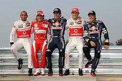 Motorsports / Formula 1: World Championship 2010, GP of Korea, 02 Lewis Hamilton (GBR, Vodafone McLaren Mercedes), 08 Fernando Alonso (ESP, Scuderia Ferrari Marlboro), 06 Mark Webber (AUS, Red Bull Racing),   01 Jenson Button (GBR, Vodafone McLaren Mercedes), 05 Sebastian Vettel (GER, Red Bull Racing),