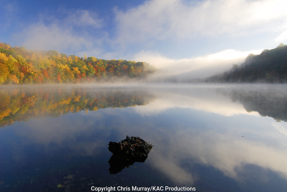 Autumn morning on  Round Lake, Green Lakes State Park, New York, USA