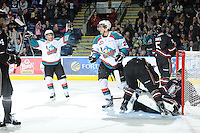 KELOWNA, CANADA - FEBRUARY 18: Tyrell Goulbourne #12 of the Kelowna Rockets celebrates a goal as the Red Deer Rebels visit the Kelowna Rockets on February 18, 2012 at Prospera Place in Kelowna, British Columbia, Canada (Photo by Marissa Baecker/Shoot the Breeze) *** Local Caption ***