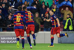 Lionel Messi, Luis Suarez and Neymar celebrate the third goal - Mandatory byline: Matt McNulty/JMP - 16/03/2016 - FOOTBALL - Nou Camp - Barcelona,  - FC Barcelona v Arsenal - Champions League - Round of 16