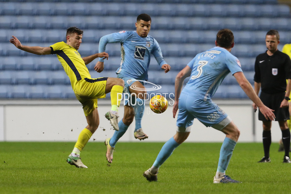 Kevin Dawson and Max Biamou during the EFL Sky Bet League 2 match between Coventry City and Cheltenham Town at the Ricoh Arena, Coventry, England on 16 December 2017. Photo by Antony Thompson.