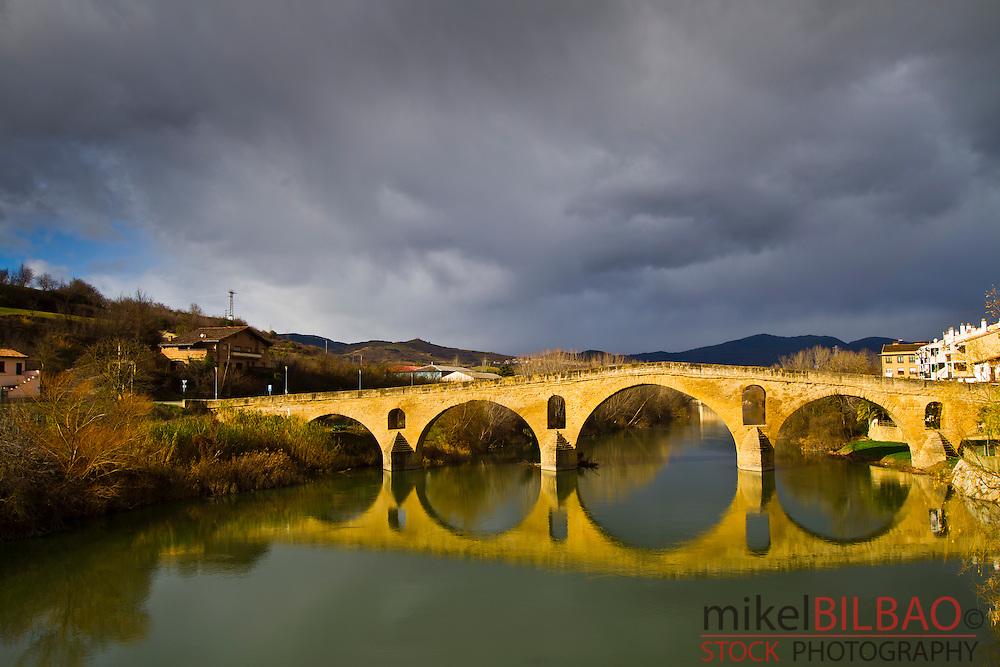 Pilgrims Bridge.<br /> Puente la Reina. Navarre, Spain.
