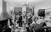 A band playing in a living room, Wyndams gig, Guernsey 1986