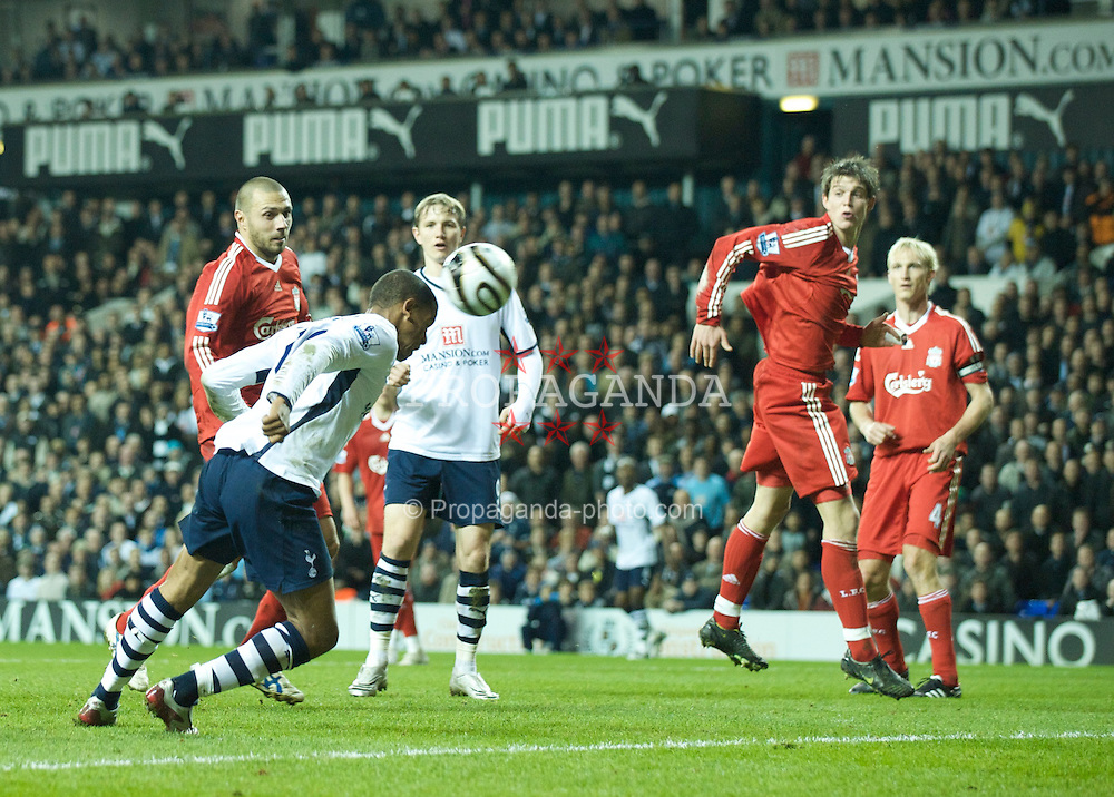 LONDON, ENGLAND - Wednesday, November 12, 2008: Tottenham Hotspur's Fraizer Campbell scores the third goal against Liverpool during the League Cup 4th Round match at White Hart Lane. (Photo by David Rawcliffe/Propaganda)