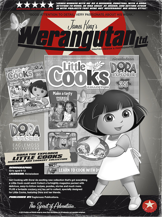 Dora the Explorer - Little Cooks. Get Cooking with Dora! An exciting new collection that&rsquo;s got everything a Little Cook could want! Collect a fortnightly magazine packed with delicious, easy-to-follow recipes, puzzles, stories and much more. PLUS a fantastic cookery and tea set to collect, specially designed for Little Cooks, featuring Dora and her friends. Published by Eaglemoss Publications.<br /> <br /> http://dora-collection.com/