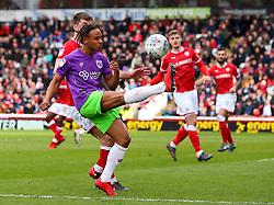 Bobby Reid of Bristol City hooks the ball in play - Mandatory by-line: Robbie Stephenson/JMP - 30/03/2018 - FOOTBALL - Oakwell Stadium - Barnsley, England - Barnsley v Bristol City - Sky Bet Championship