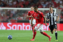 August 21, 2018 - Lisbon, Portugal - Benfica's Suisse forward Haris Seferovic vies with PAOK's midfielder Dimitris Pelkas during the UEFA Champions League play-off first leg match SL Benfica vs PAOK FC at the Luz Stadium in Lisbon, Portugal on August 21, 2018. (Credit Image: © Pedro Fiuza via ZUMA Wire)