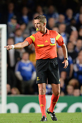 LONDON, ENGLAND - September 18: Referee Wolfgang Stark during the UEFA Champions League Group E match between Chelsea from England and Basel from Switzerland played at Stamford Bridge, on September 18, 2013 in London, England. (Photo by Mitchell Gunn/ESPA)