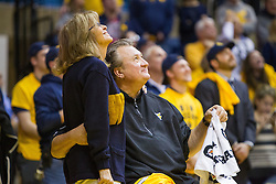 Dec 17, 2016; Morgantown, WV, USA; West Virginia Mountaineers head coach Bob Huggins and his wife June Huggins look on during the celebration of 800 career wins at WVU Coliseum. Mandatory Credit: Ben Queen-USA TODAY Sports