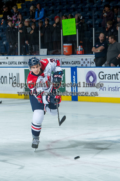 KELOWNA, CANADA - NOVEMBER 17:  Dylan Cozens #24 of the Lethbridge Hurricanes during takes a shot during warm up against the Kelowna Rockets on November 17, 2017 at Prospera Place in Kelowna, British Columbia, Canada.  (Photo by Marissa Baecker/Shoot the Breeze)  *** Local Caption ***