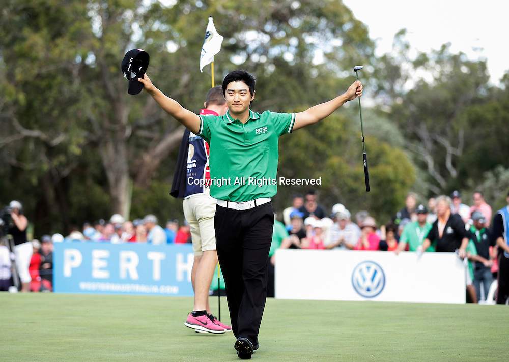 20.10.2013 Perth, Australia. Jin Jeong celebrates winning the play off against Ross Fisher (ENG) during the final day of the ISPS Handa Perth International Golf Championship from the Lake Karrinyup Country Club.