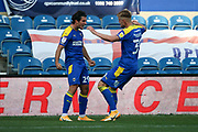 AFC Wimbledon striker Joe Pigott (39) celebrates with AFC Wimbledon attacker Ryan Longman (29) after scoring GOAL during the EFL Sky Bet League 1 match between AFC Wimbledon and Plymouth Argyle at the Kiyan Prince Foundation Stadium, London, England on 19 September 2020.