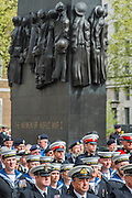 Veterans stand behing members of the Royal Navy and in front of the Women of WW2 memeorial. A commemoration in London to mark the Centenary of the Gallipoli Campaign 25 April 2015 at the Cenotaph on Whitehall, Westminster. Descendants of those who fought in the campaign also march past, led by military personnel, as part of the ceremony. This is an addition to the usual annual ceremony organized byvThe High Commissions of Australia and New Zealand.