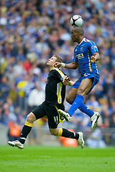 LONDON, ENGLAND - Saturday, May 17, 2008: Cardiff City's Paul Parry and Portsmouth's Sylvain Distin during the FA Cup Final at Wembley Stadium. (Photo by David Rawcliffe/Propaganda)