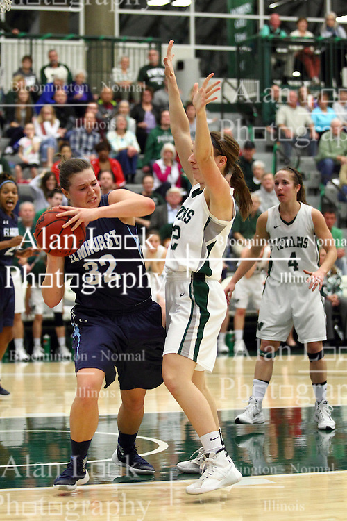 20 February 2016:  Mikaela Eppard, Alina Lehocky during an NCAA women's basketball game between the Elmhurst Bluejays and the Illinois Wesleyan Titans in Shirk Center, Bloomington IL