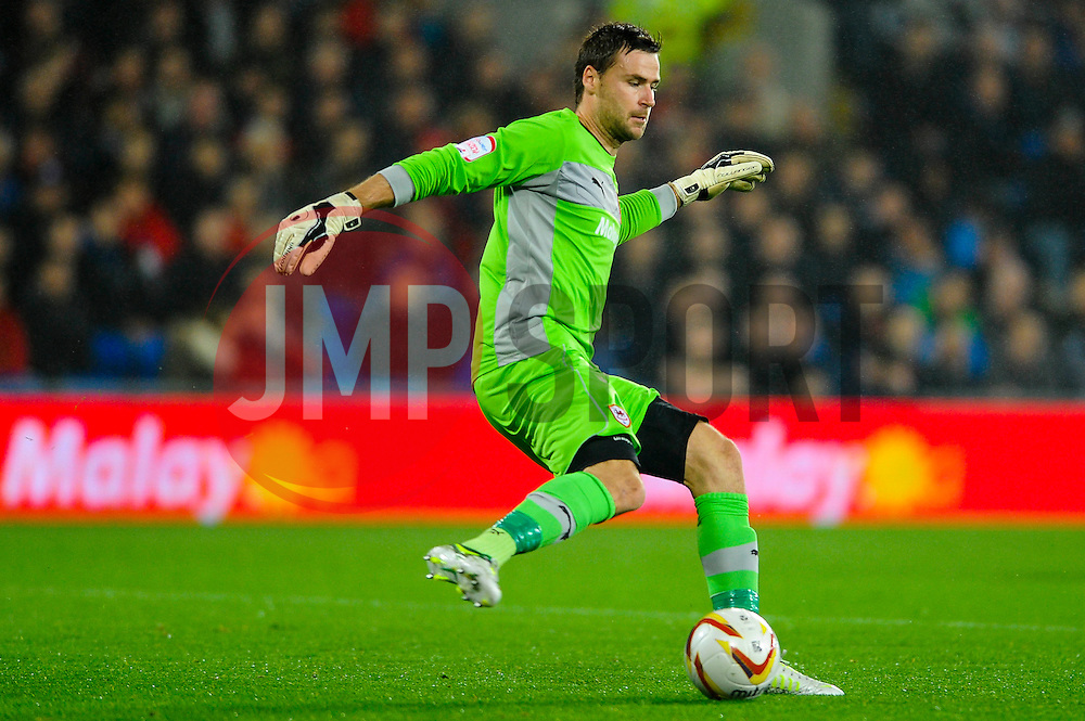 Cardiff Goalkeeper David Marshall (SCO) clears during the first half of the match - Photo mandatory by-line: Rogan Thomson/JMP - Tel: Mobile: 07966 386802 23/10/2012 - SPORT - FOOTBALL - Cardiff City Stadium - Cardiff. Cardiff City v Watford - Football League Championship
