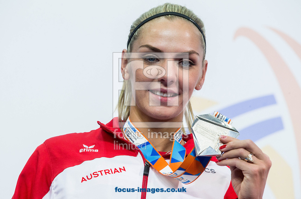 Second placed Ivona Dadic of Austria celebrates at the trophy ceremony after the  Women's Pentathlon competition on day one of the 34th European Indoor Athletics Championships Belgrade 2017 at the Kombank Arena, Belgrade<br /> Picture by EXPA Pictures/Focus Images Ltd 07814482222<br /> 03/03/2017<br /> *** UK &amp; IRELAND ONLY ***<br /> <br /> EXPA-SLO-170303-0011.jpg