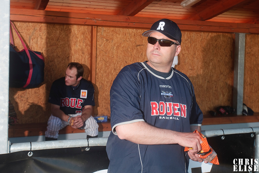 06 June 2010: Robin Roy of Rouen is seen in the dugout during the 2010 Baseball European Cup match won 10-8 by the Rouen Huskies over AVG Draci Brno, at the AVG Arena, in Brno, Czech Republic.