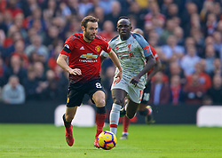 MANCHESTER, ENGLAND - Sunday, February 24, 2019: Manchester United's Juan Mata (L) and Liverpool's Sadio Mane during the FA Premier League match between Manchester United FC and Liverpool FC at Old Trafford. (Pic by David Rawcliffe/Propaganda)