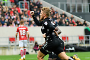 Goal - Samuel Saiz (21) of Leeds United celebrates scoring a goal to give a 0-1 lead to the away team during the EFL Sky Bet Championship match between Bristol City and Leeds United at Ashton Gate, Bristol, England on 21 October 2017. Photo by Graham Hunt.