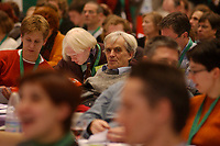 07 DEC 2002, BERLIN/GERMANY:<br /> Hans-Christian Stroebele, MdB, in den reihen der Delegierten, Buendnis 90 / Die Gruenen Bundesdelegiertenkonferenz, Congress Centrum Hannover<br /> IMAGE: 20021207-01-148<br /> KEYWORDS: Green Party, party congress, Bündnis 90 / Die Grünen, Parteitag, BDK, Hans-Christian Ströbele