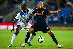 Simone Zaza of Valencia takes on Darnell Johnson of Leicester City - Mandatory by-line: Robbie Stephenson/JMP - 01/08/2018 - FOOTBALL - King Power Stadium - Leicester, England - Leicester City v Valencia - Pre-season friendly