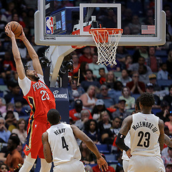 Apr 4, 2018; New Orleans, LA, USA; New Orleans Pelicans forward Anthony Davis (23) dunks over Memphis Grizzlies forward Myke Henry (4) during the second quarter at the Smoothie King Center. Mandatory Credit: Derick E. Hingle-USA TODAY Sports
