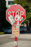 2017 JULY 25 - A vandalized traffic stop sign in Seattle, WA, USA. By Richard Walker
