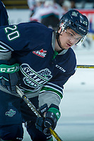 KELOWNA, CANADA - APRIL 25: Zack Andrusiak #20 of the Seattle Thunderbirds warms up against the Kelowna Rockets on April 25, 2017 at Prospera Place in Kelowna, British Columbia, Canada.  (Photo by Marissa Baecker/Shoot the Breeze)  *** Local Caption ***